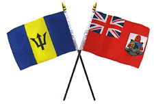 "Bermuda & Barbados Flags 4""x6"" Desk Set Table Gold Base"