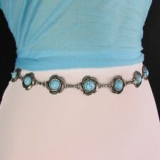 New Women Rusty Silver Metal Fashion Belt Turquoise Blue Bead Hip High Waist S M