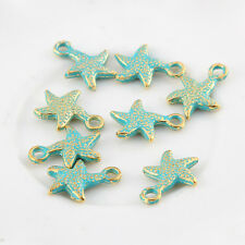 10pcs Starfish Bronze Green Charms Beads Pendant DIY Jewelry Making 17*13mm
