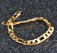 18k Yellow Gold Womens Men's Elegant Snake Link Chain Bracelet + GiftPg D471