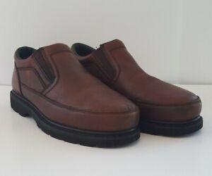 John Deere JD7325 Brown Leather No Slip Steel Toe Work Loafers Men's US 13M Shoe