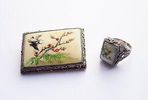 Nachlass antik handbemalte Brosche und Ring Sterling Silber Konvolut