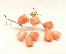 Vtg 14K Gold Carved Pink Coral Earrings Rose Bunch Bush Rosebud Angel Skin Deco