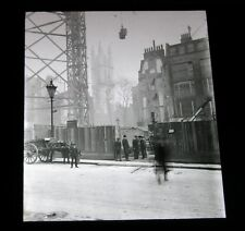 Antique magic lantern slide St Michael Cornhill Tower Christopher Wren architect