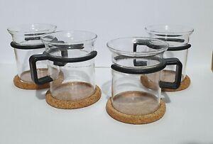4 Bodum coffee glass cups with cork coasters