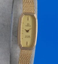 Ladies Omega Deville 18K Gold Plated Watch - Rectangular Gold Dial