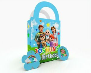 Personalised CoCoMelon Children Party Bag Gift Favour Box Treat Bag Blue