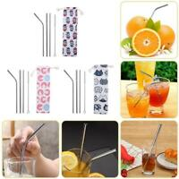 5pcs/Set Stainless Steel Straight Bent Straws+Cleaning Brush Drinking Tool #GB