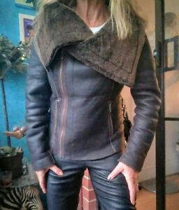 Muubaa Bronson Real Leather Shearling Coat/Jacket sz12/8/40