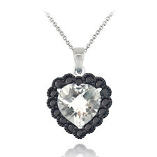 925 Silver 4ct White Topaz & Black Spinel Heart Necklace, 18""