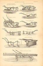 1874 stampa ~ AGRICOLTURA COLEMAN's Coltivatore solco ARATRO gebina semina ecc.