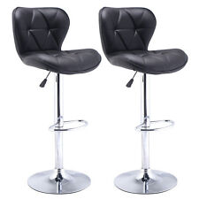 Set of 2 Bar Stools Leather Modern Hydraulic Swivel Dinning Chair Barstool Black