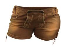 Jeans Shorts Damen Hot Pants Lederhosenoptik Braun Freizeithosen  S Trachten