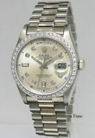 Rolex Day-Date President 18k White Gold Diamond Dial/Bezel Mens Watch 18049