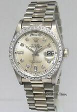 Rolex Day-Date President 18k White Gold Diamond Dial/Bezel Mens Watch 18039