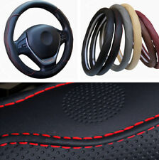 "15"" 38CM Auto Car Non-slip PU Leather Steering Wheel Cover Protector Black + Red"