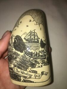 Scrimshawed Whale Art Whaling Ship Boat Sailing Signed Antique Sea Icebergs Bird
