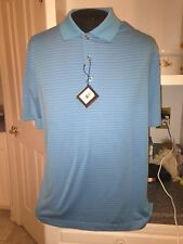 Nwt $79 Bobby Jones Turquoise Blue Stripe H20 Polyester Golf Polo Shirt M Medium