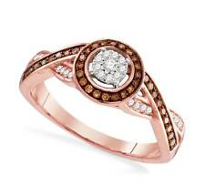 Chocolate Brown & White Diamond Ring 10K Rose Gold - Round Shape Cluster .25ct