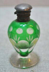 Original Old Antique Hand Crafted Fine Venetian Glass Perfume Bottle Silver Cap