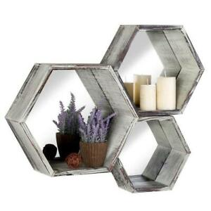 Rustic Torched Wood Hexagon Floating Shelves w/ Mirrored Backing Decor, Set of 3