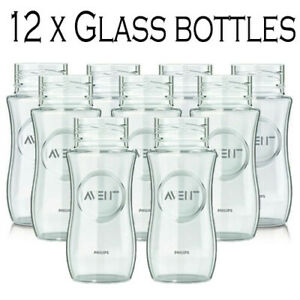 12 X Philips Avent Replacment Glass Feeding Baby Bottles BPA Free 240ml Blue Sea
