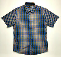 Ben Sherman Men's Short Sleeve Shirt Blue Checked Pattern 100% Cotton Size Large
