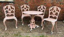 Vintage Cast Aluminium Antique Victorian Style Garden Table & 4 Chairs VGVC
