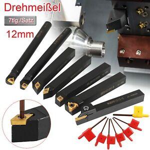 7x Drehmeißel 12x12mm Drehstahl Klemmhalter Bohrstange+7x Wendeschneidplatte Set