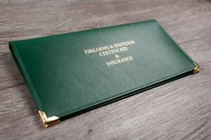 Deluxe Double Firearm Shotgun Certificate Licence Holder Real UK Leather Hunting
