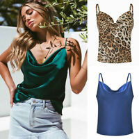 Summer Women's Spaghetti Tops Vest Ladies Drape collar Blouse Tee Sexy T-Shirt