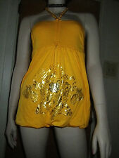 WOMENS Sexy Apple Bottoms Gold Halter Side Ruched Club Party Dress M REDUCED