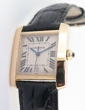 .Auth CARTIER TANK FRANCAISE REF. 1840 YELLOW GOLD 18K AUTOMATIC + BOX & DOCS