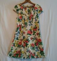 Nitrogen Dress Women's Sz 40 (US 6) Fit and Flare Floral Textured Cap Sleeve
