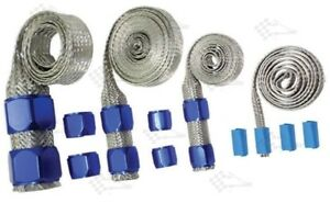 Blue Braided Steel Hose Sleeving Kit - Vacuum, Fuel Lines, Heater, Radiator Hose