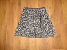 MARC CAIN SILK BROWN/WHITE LAYERED FLORAL RUCHED GATHERED DETAIL SHORT SKIRT