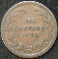 1828 D | German States Baden 1 Kreuzer | Copper | Coins | KM Coins