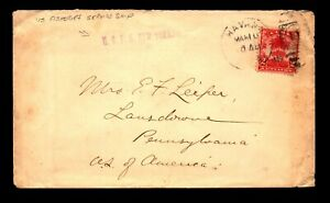 Spanish Indies 1909 US Fisheries Ship Cover to PA - L10025
