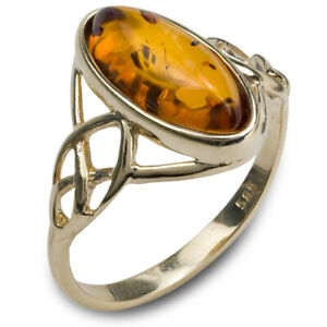 14k Pure Solid Pure Yellow Gold Honey Classic Baltic Amber Celtic Knot Oval Ring