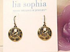 "Beautiful Lia Sophia Gold ""Santa Fe"" Dangle Earrings, Cut Crystals, Nwt"