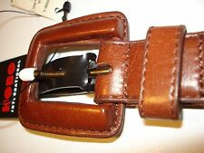 """HOBO INTERNATIONAL BROWN 1""""THIN LEATHER NEW WITH TAGS BELT WITH LEATHER BUCKLE"""