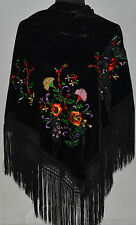 "Spanish flamenco VELVET black triangular shawl c/w floral embroidery 66"" x 39"""