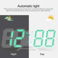 Modern Digital 3D White LED Wall Clock Alarm Clock Snooze 12/24 Hour Display o2