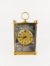 Vintage 1970s MOLNIJA Brass & Marble Desk Clock, Mantel Timepiece Soviet Union