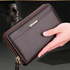 Men's Faux Leather Business Zip Big Wallet Clutch Purse Card Holder Handbags US