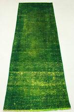 Vintage Läufer Orient Teppich grün top modern 310x90 Used Look handgeknüpft 2932