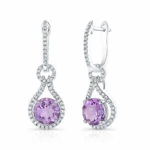 Purple Amethyst Diamond Drop Earrings 14K White Gold Round Cut Equestrian Dangle