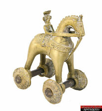 Vintage Brass India Temple Pull Toy Ornate Detailed Rider On Horse With Wheels