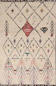 IVORY Tribal Geometric Moroccan Berber Oriental Area Rug Plush Wool Handmade 4x7