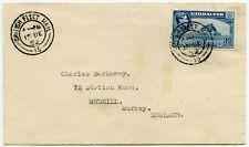 GIBRALTAR NAVY BRITISH FLEET MAIL POSTMARKS 3d to REDHILL SURREY 1952
